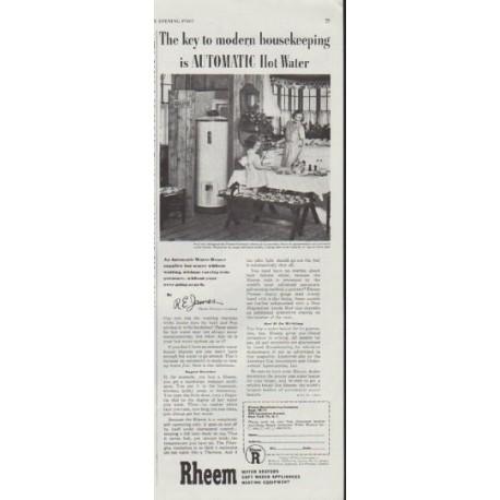 "1948 Rheem Ad ""The key to modern housekeeping"""