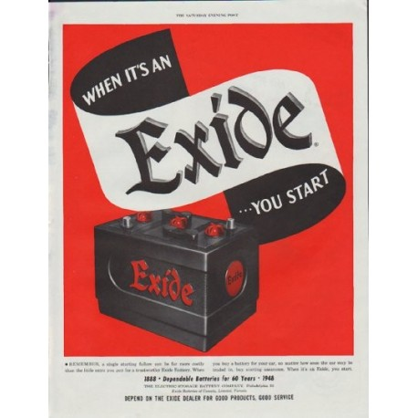 "1948 Exide Ad ""You Start"""