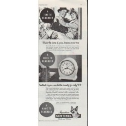 "1948 Sentinel Clocks Ad ""A Time To Remember"""