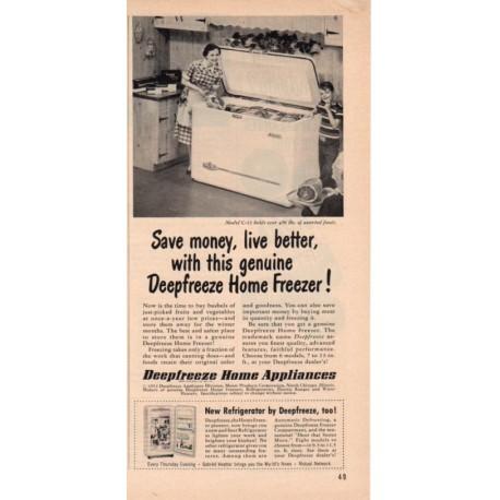 "1953 Deepfreeze Home Freezer Ad ""Save Money"""