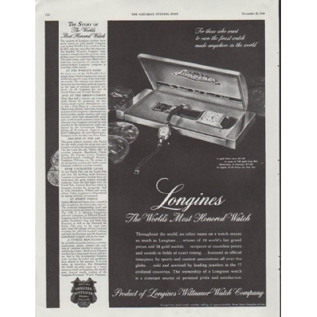 """1948 Longines-Wittnauer Watch Ad """"Most Honored Watch"""""""