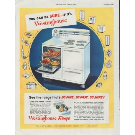 "1948 Westinghouse Ad ""You Can Be Sure"""