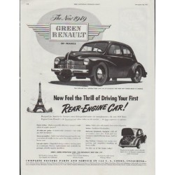 "1948 Renault Ad ""The New 1949 Green Renault"""