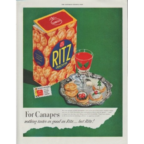 """1948 Ritz Crackers Ad """"For Canapes"""""""
