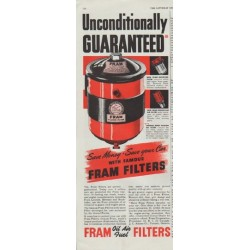 "1948 Fram Filters Ad ""Unconditionally Guaranteed"""