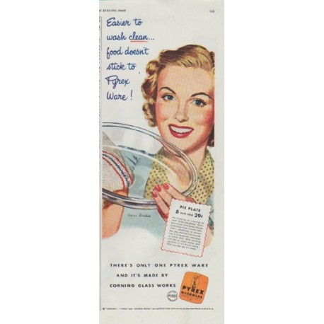 """1948 Pyrex Ad """"Easier to wash clean"""""""