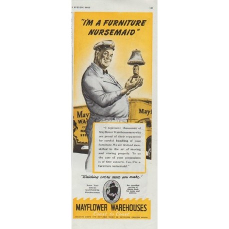 """1948 Mayflower Warehouses Ad """"Furniture Nursemaid"""""""