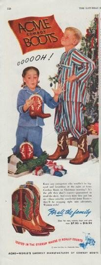 """Acme Truck Parts >> 1948 Acme Boots Vintage Ad """"Cowboy Boots"""""""