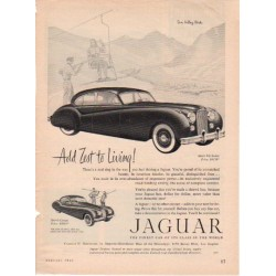 "1953 Jaguar Vintage Ad ""Add Zest To Living!"""