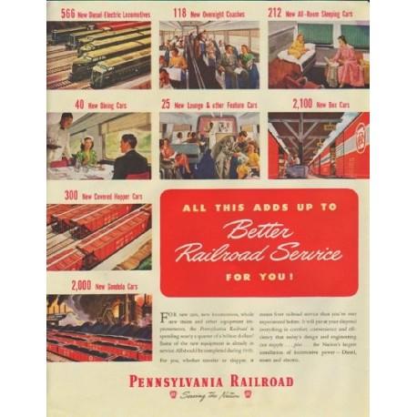 """1948 Pennsylvania Railroad Ad """"Better Railroad Service"""""""