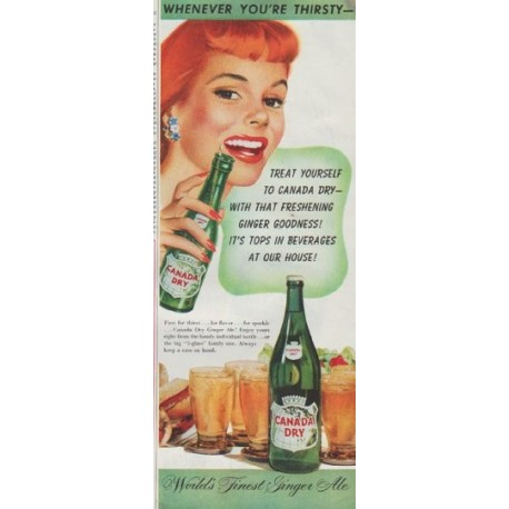 """1948 Canada Dry Ad """"Whenever You're Thirsty"""""""