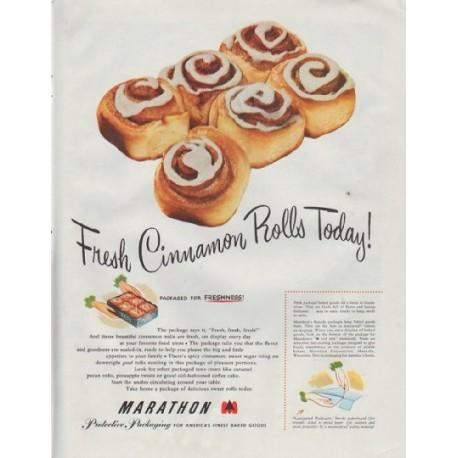 "1948 Marathon Protective Packaging Ad ""Fresh Cinnamon Rolls"""
