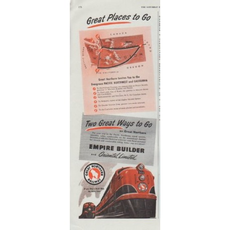 """1948 Great Northern Railway Ad """"Great Places to Go"""""""