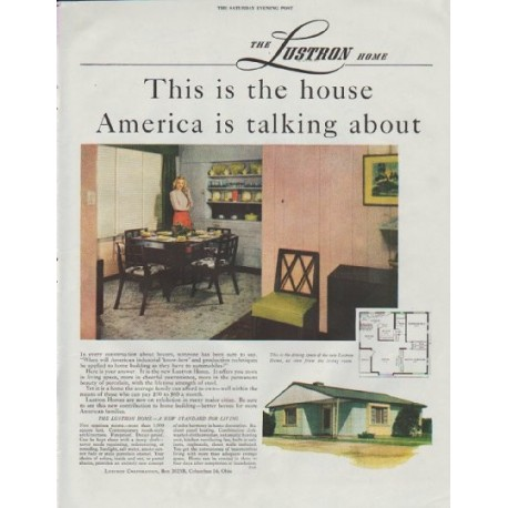 "1948 Lustron Corporation Ad ""This is the house"""