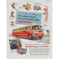 "1948 National Trailways Bus System Ad ""For winter travel"""