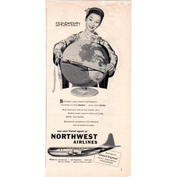 "1953 Northwest Airlines Ad ""Shortest!"""
