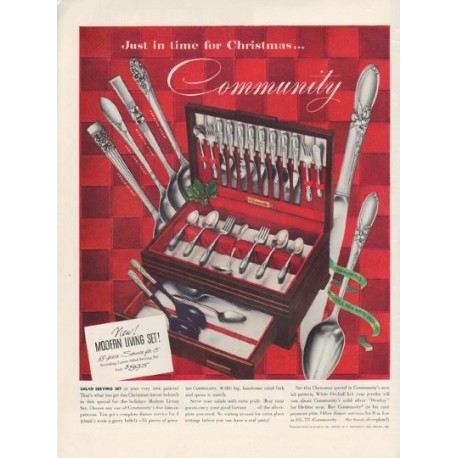 "1952 Community Silverplate Ad ""Just in time for Christmas"""
