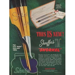 "1952 Sheaffer Pen Ad ""This Is New"""
