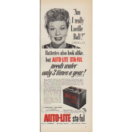 "1952 Auto-Lite Ad ""Am I really Lucille Ball"""