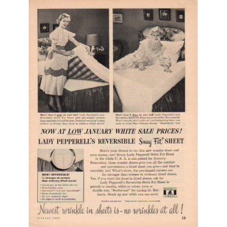 "1953 Pepperell Fabrics Ad ""No Wrinkles"""