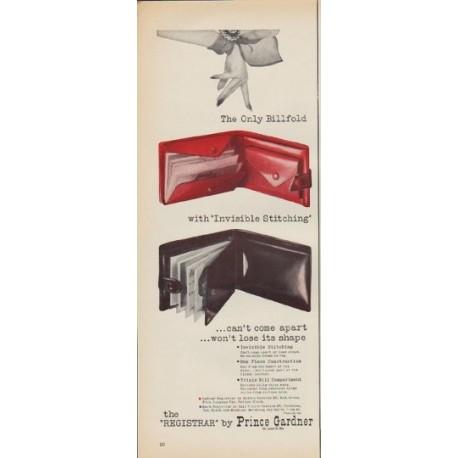 "1952 Prince Gardner Ad ""The Only Billfold"""