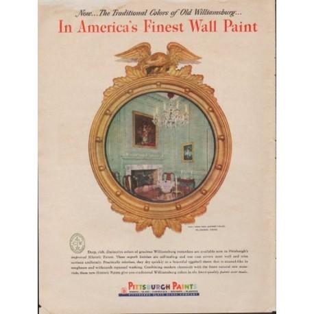 "1953 Pittsburgh Paints Ad ""Finest Paint"""