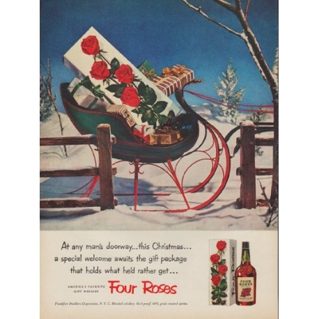 "1952 Four Roses Whiskey Ad ""any man's doorway"""