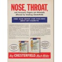 "1952 Chesterfield Cigarettes Ad ""Nose, Throat"""