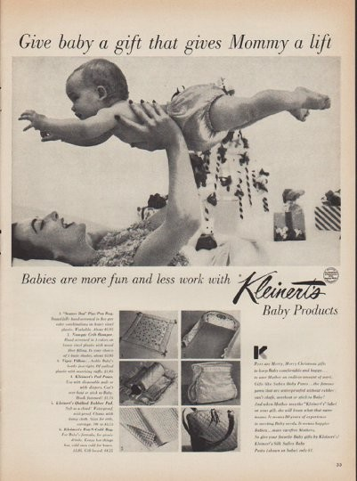 """1952 Kleinert's Vintage Ad """"Give baby a gift"""""""