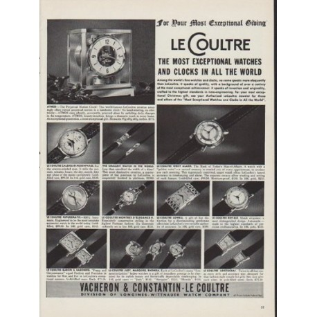 "1952 LeCoultre Ad ""For Your Most Exceptional Giving"""
