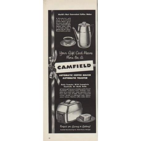 "1952 Camfield Ad ""Most Convenient Coffee Maker"""