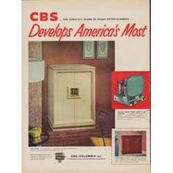 "1952 CBS Columbia Ad ""Most Advanced TV Set"""