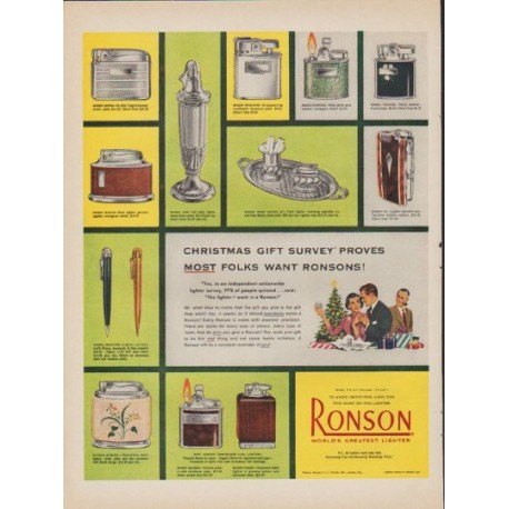 "1952 Ronson Ad ""Christmas Gift Survey"""