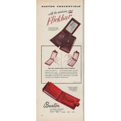 "1952 Buxton Billfolds Ad ""Flickbar"""
