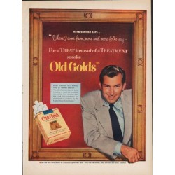 "1952 Old Gold Cigarettes Ad ""For a Treat"""