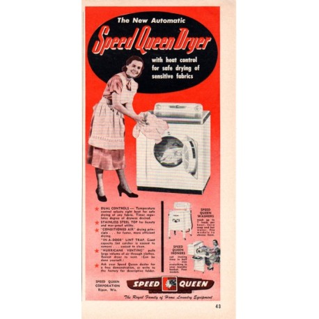 "1953 Speed Queen Dryer Ad ""Heat Control"""