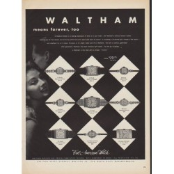 "1952 Waltham Watch Ad ""means forever"""