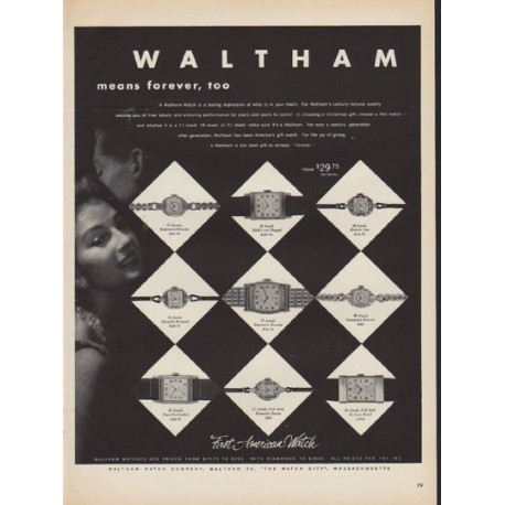 """1952 Waltham Watch Ad """"means forever"""""""