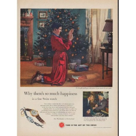"""1952 Watchmakers of Switzerland Ad """"so much happiness"""""""