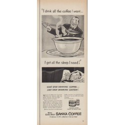 "1952 Sanka Coffee Ad ""all the coffee I want"""