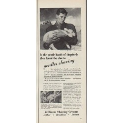 "1952 Williams Shaving Creams Ad ""gentle hands"""