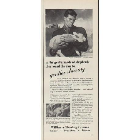 """1952 Williams Shaving Creams Ad """"gentle hands"""""""