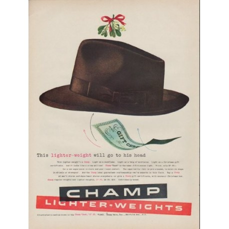 """1952 Champ Hats Ad """"lighter-weight"""""""