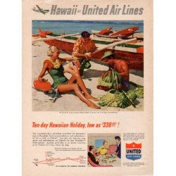 "1953 United Air Lines Ad ""Hawaiian Holiday"""