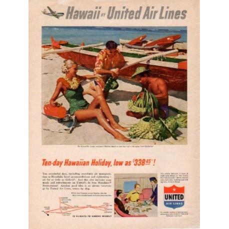 "1953 United Air Lines Ad ""Hawaiian Holiday"""