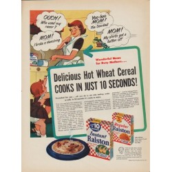"1952 Ralston Purina Ad ""Delicious Hot Wheat Cereal"""