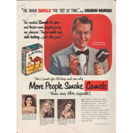 1952 Camel Cigarettes Vintage Ad Vaughn Monroe
