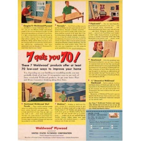 "1953 US Plywood Corp. Ad ""Weldwood Plywood"""