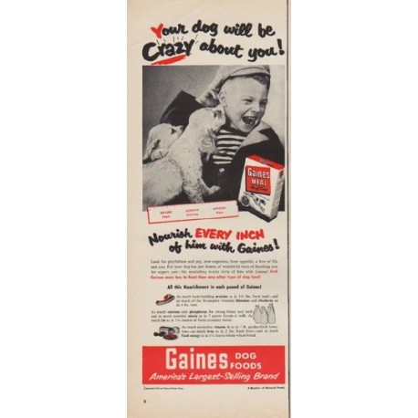 """1950 Gaines Dog Food Ad """"Your dog will be Crazy"""""""