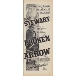 """1950 Broken Arrow Movie Ad """"starring James Stewart"""""""